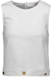 Tanya Taylor Sal Cropped Button Embellished Twill Top White
