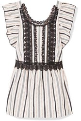 Anna Sui Guipure Lace Trimmed Jacquard Top White