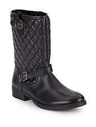 Saks Fifth Avenue Ani 2 Quilted Leather Moto Boots Black