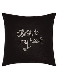 Bella Freud Close To My Heart Embroidered Cushion Black