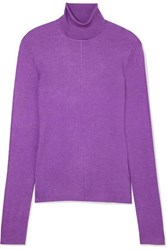 Sally Lapointe Ribbed Cashmere And Silk Blend Turtleneck Sweater Purple
