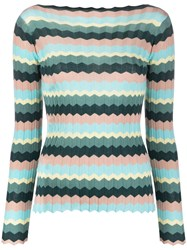 Roberto Collina Long Sleeve Striped Knitted Top 60