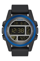 Nixon Men's The Unit Digital Silicone Strap Watch 44Mm Black Blue Gunmetal