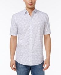 Club Room Men's Sunglasses Print Cotton Shirt Only At Macy's Bright White