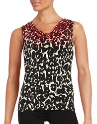 Calvin Klein Printed Cowlneck Shell Red