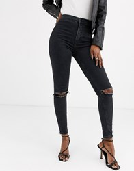 Topshop Joni Skinny Jeans With Rips In Black
