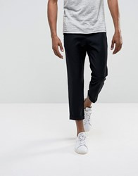 Bellfield Cropped Trousers With Pleated Front Black