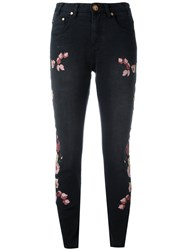 One Teaspoon Birds Of Paradise Embroidered Cropped Jeans Black