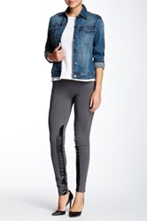 Tractr Jeans Leather Trim Legging Gray