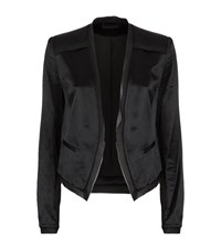 Diane Von Furstenberg Larra Satin Silk Trim Blazer Female Black