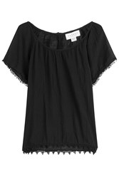 Velvet Cotton Top With Embroidered Trim Black