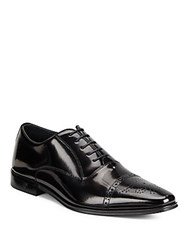 Versace Spazzolato Brogue Oxford Shoes Black