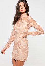 Missguided Pink High Neck Long Sleeve Embroidered Lace Bodycon Dress