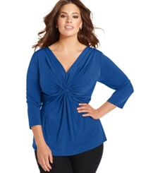 Ny Collection Plus Size Three Quarter Sleeve Twist Front Top Olympian Blue