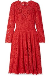 Dolce And Gabbana Corded Lace Dress Red