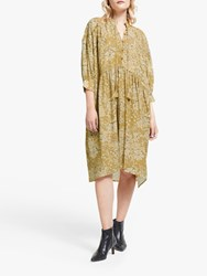 And Or Gina Santiago Print Dress Yellow Floral
