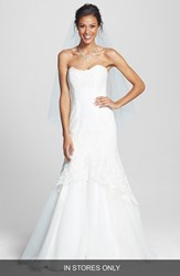 Bliss Monique Lhuillier Women's Lace Overlay Tulle Trumpet Wedding Dress Silk White