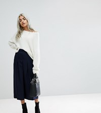 Asos Petite Tailored Clean Column Skirt With Pleats Navy