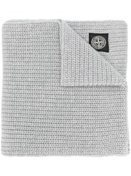 Stone Island Ribbed Knit Scarf Grey
