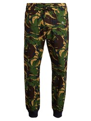 Off White Camouflage Print Slim Leg Cotton Track Pants Green Multi