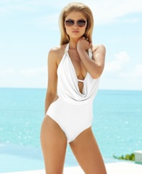 Bar Iii Draped Monokini One Piece Swimsuit Women's Swimsuit White