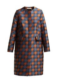 Marni Houndstooth Print Silk Lined Coat Brown Multi