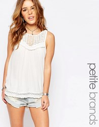 New Look Petite Lace Tunic Top Cream