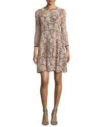 Nanette Lepore 3 4 Sleeve Lace Swing Dress Black