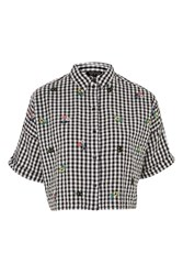 Topshop Gingham Embroidered Shirt Monochrome