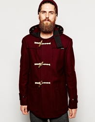 Gloverall Duffle Coat In Melton Wool Burgundy