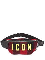 Dsquared Icon Checked Wool Belt Bag Red