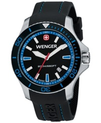 Wenger Men's Swiss Sea Force Black Silicone Rubber Strap Watch 43Mm 0641.104