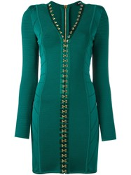 Balmain Fitted Hook Fasten Dress Green