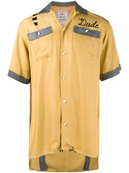 Miharayasuhiro Embroidered Bowling Shirt Yellow Orange