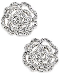 Kate Spade New York Silver Tone Pave Rose Stud Earrings