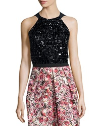 Phoebe Couture Sleeveless Beaded Halter Top
