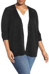 Sejour Wool And Cashmere V Neck Cardigan Plus Size Black