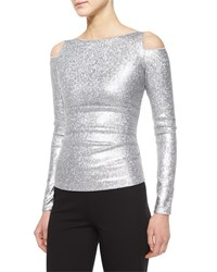 Donna Karan Cold Shoulder Date Night Top Silver