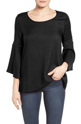 Pleione Women's Lace Inset Bell Sleeve Blouse