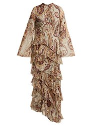 Etro Vega Tiered Silk Blend Dress Grey Print