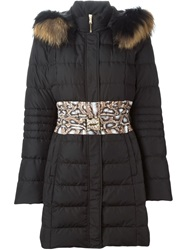 Roberto Cavalli Snakeskin Panel Coat Black