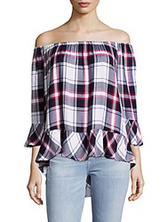 Beach Lunch Lounge Plaid Off The Shoulder Top Nightshadow