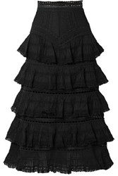 Zimmermann Juniper Lace Trimmed Tiered Pintucked Cotton Voile Midi Skirt Black