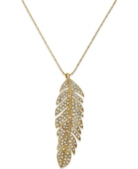 Bar Iii Gold Tone Pave Feather Long Pendant Necklace