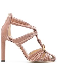Jimmy Choo Krissy Sandals Calf Leather Leather Velvet Nude Neutrals