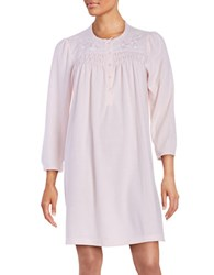 Miss Elaine Petite Floral Embroidered Nightgown Pink