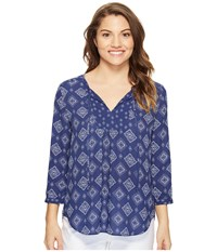 Nydj Petite Patch Work Mosaic Blouse Bandana Blue Women's Blouse