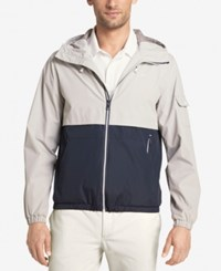 Izod Men's Colorblocked Hooded Windbreaker Midnight Stone