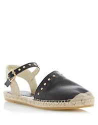 Dune Joka Leather Espadrilles Black