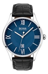 Boss Governor Leather Strap Watch 44Mm Navy Black